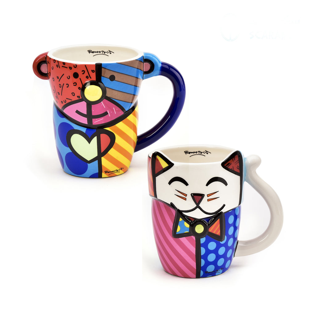Romero Britto Figural Animal Mug - Cat & Bear