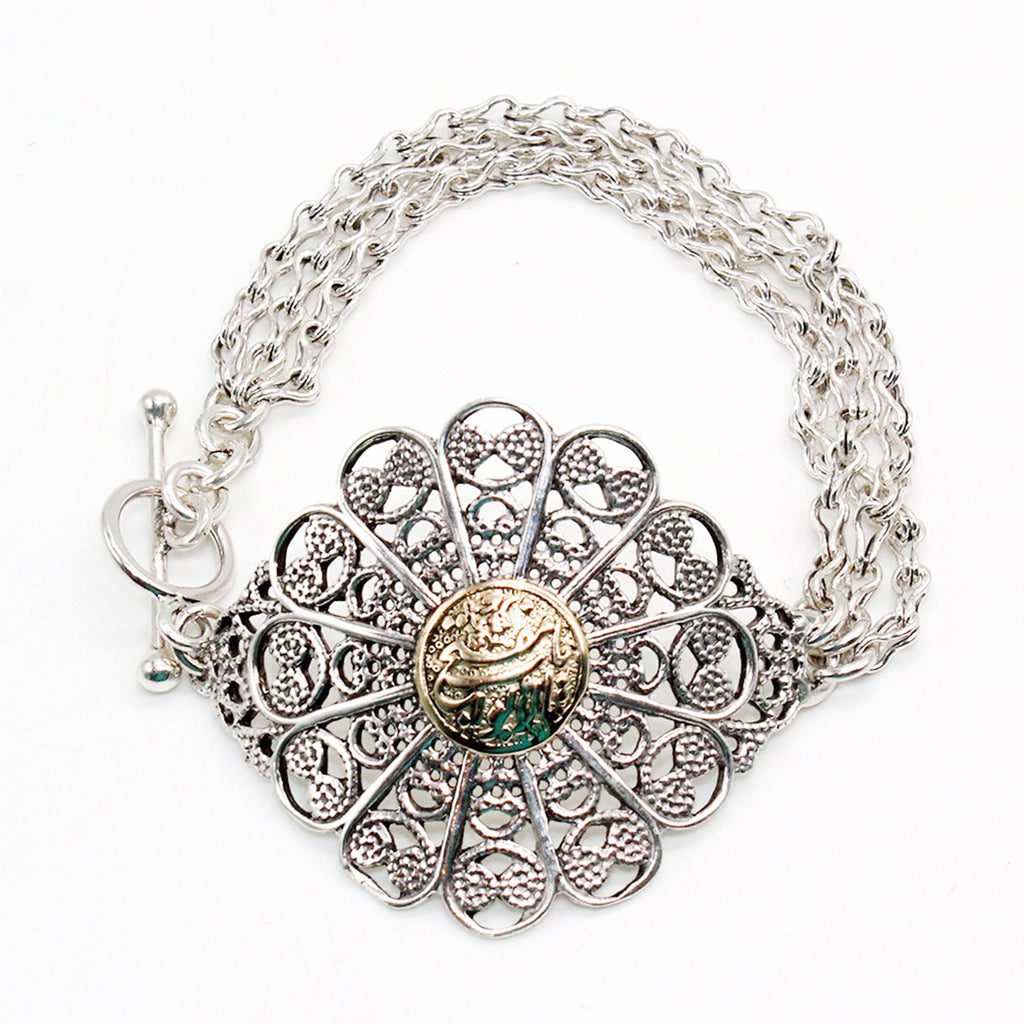 Pure Silver and Gold Bracelet Flower