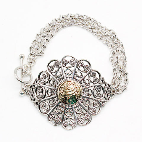 Arabian Jewellery Silver and Gold Bracelet Flower