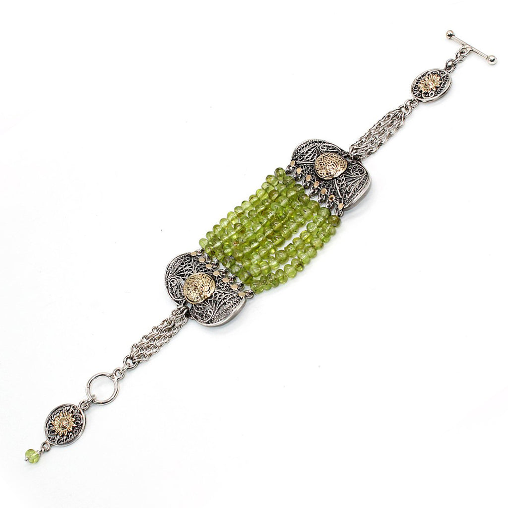 Pure Silver and Gold Bracelet with Peridot