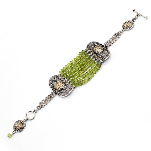 Arabian Jewellery Silver and Gold Bracelet with Peridot