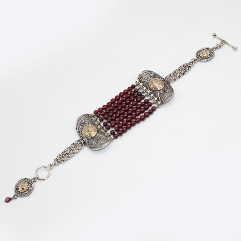 Arabian Jewellery Silver and Gold Bracelet with Garnet