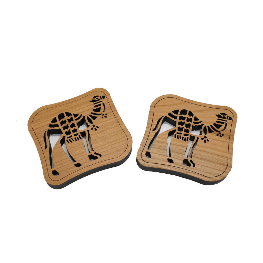 Handcrafted Cherry Wood Set of 2 Coasters Camels