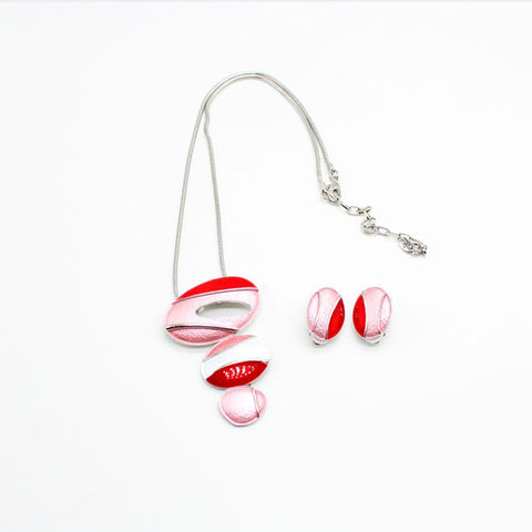 Fashion Necklace and Earrings Oval Coloured Red and Matt
