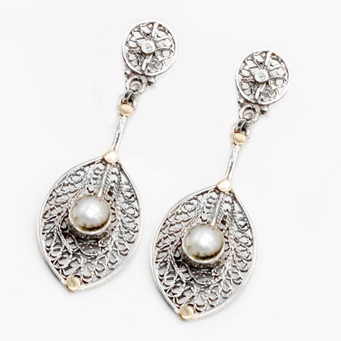 Arabian Jewellery Silver Earrings Feather Pearl with Gold