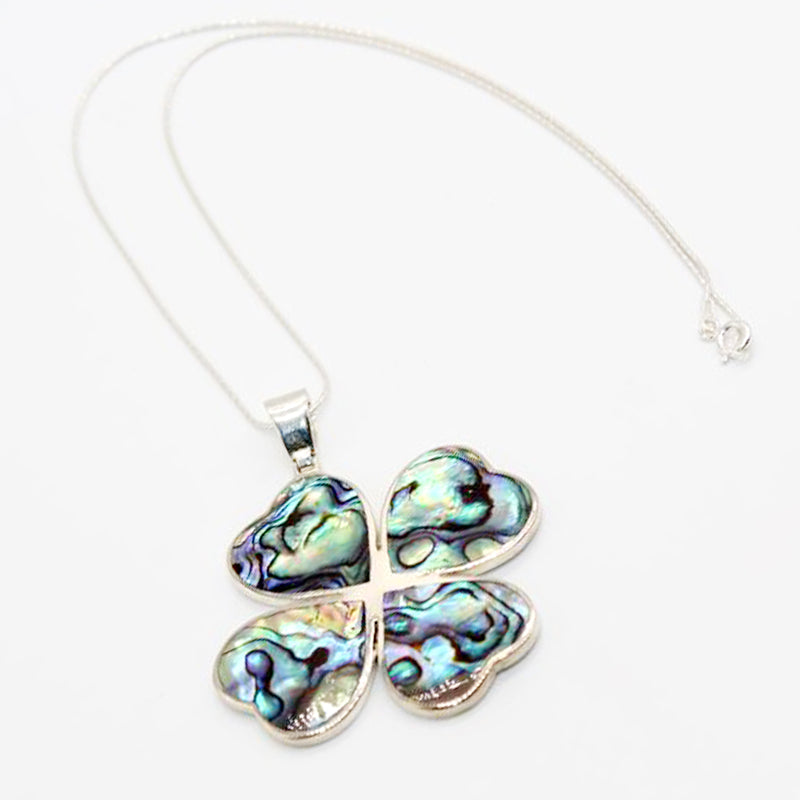 Sterling Silver Necklace Clover Abalone