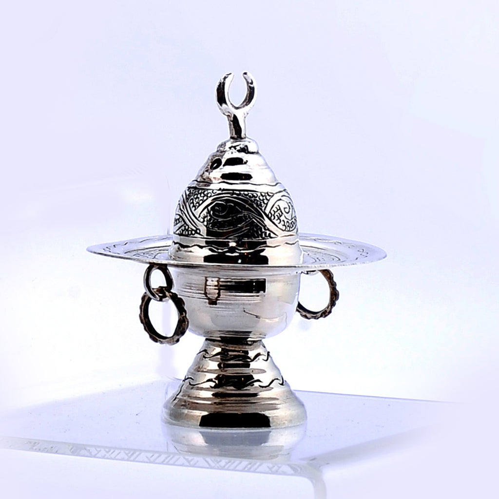 Pure Silver Incense Burner with Cover Small