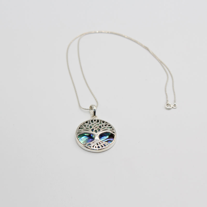 Sterling Silver Necklace Tree of Life Abalone Medium