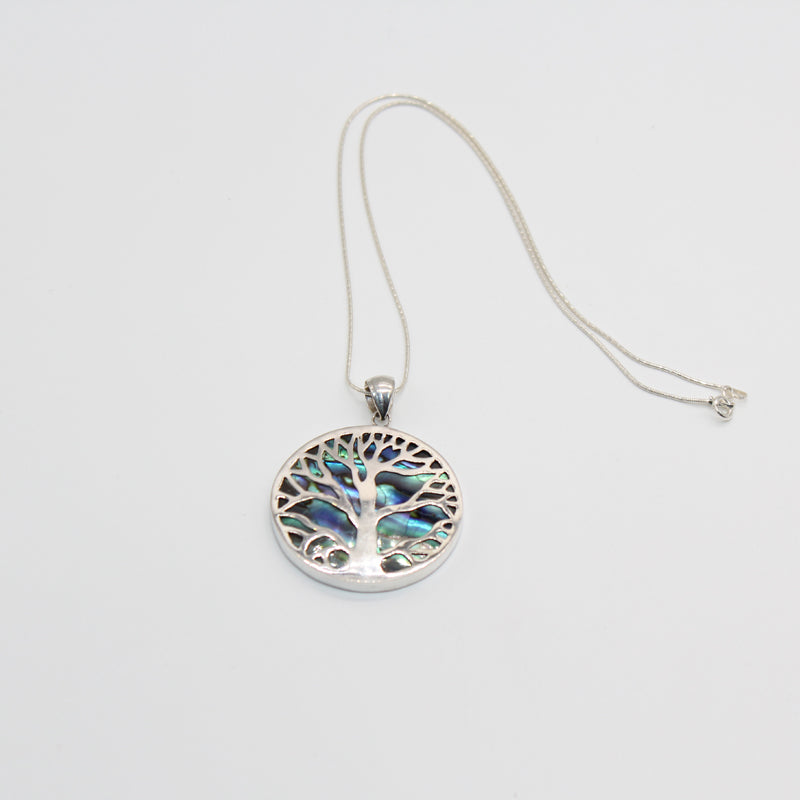 Sterling Silver Necklace Tree of Life Abalone Large