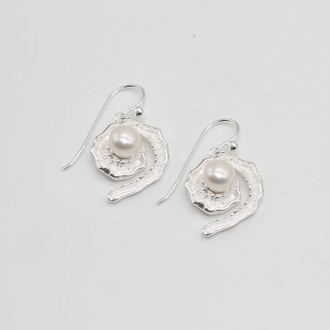 Pure Silver Earrings Freshwater Pearl Fancy Swirl
