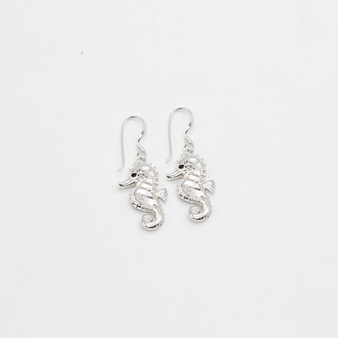 Pure Silver Earrings Mother of Pearl Seahorse