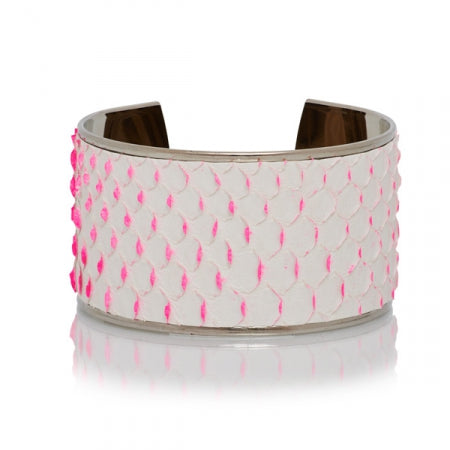 Opale Hopi, Yuma and Navajo Python Lift-Up White/Pink Silver base Bangle
