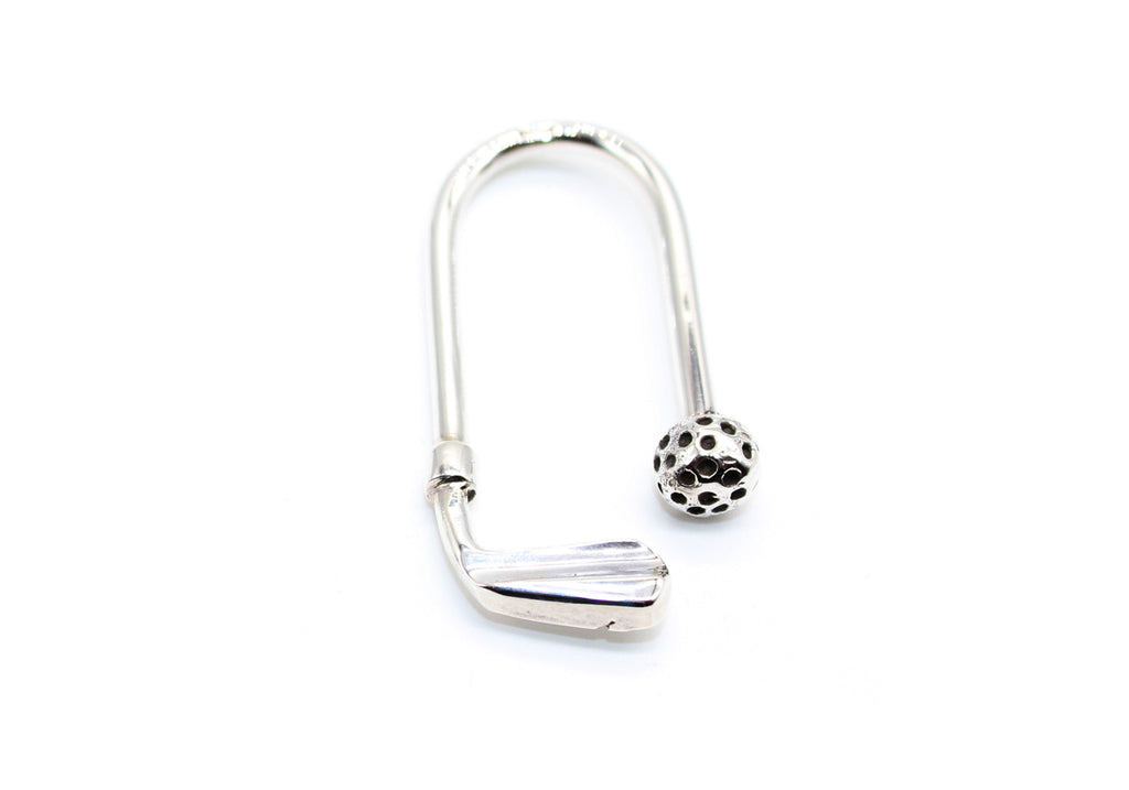Pure Silver Keyring Golf- Oval