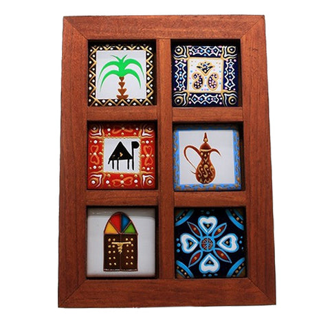 Gifts in UAE Hand Painted Frame Six Tiles
