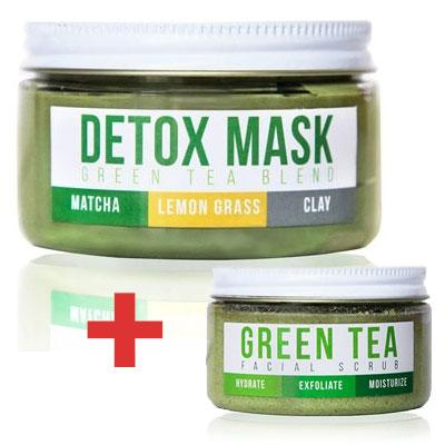 Green Tea Detox Mask + Green Tea Facial Scrub - Teami Blends