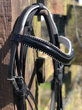 No 1 Diamante Gloss Bridle With White Padding - equicraftltd