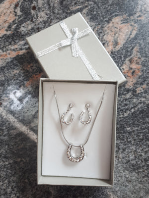 HKM Horse Shoe Necklace & Earring  Set