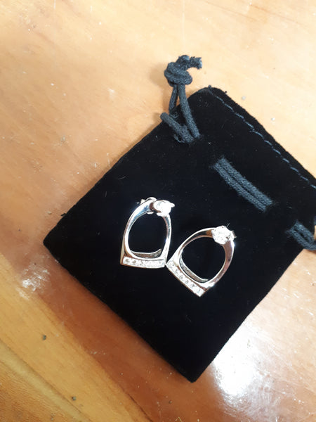 HKM Crystal Stirrup  Earrings
