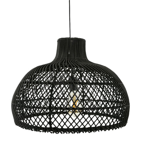 Maze rotan lamp medium zwart
