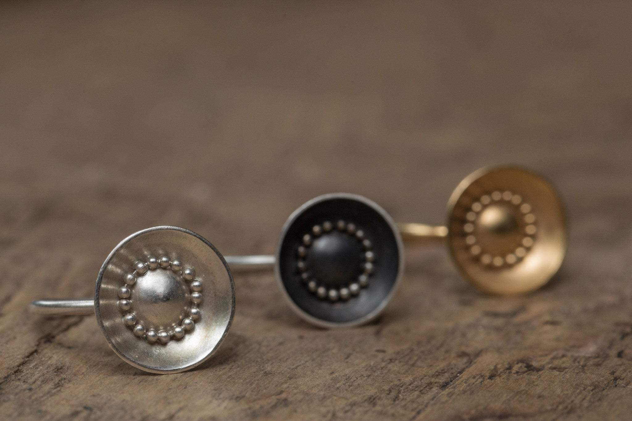 circle rings silver gold oxidised