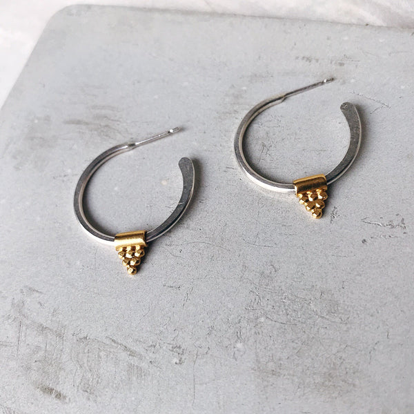 Dot Pyramid Bouddica Bead Hoop Earrings