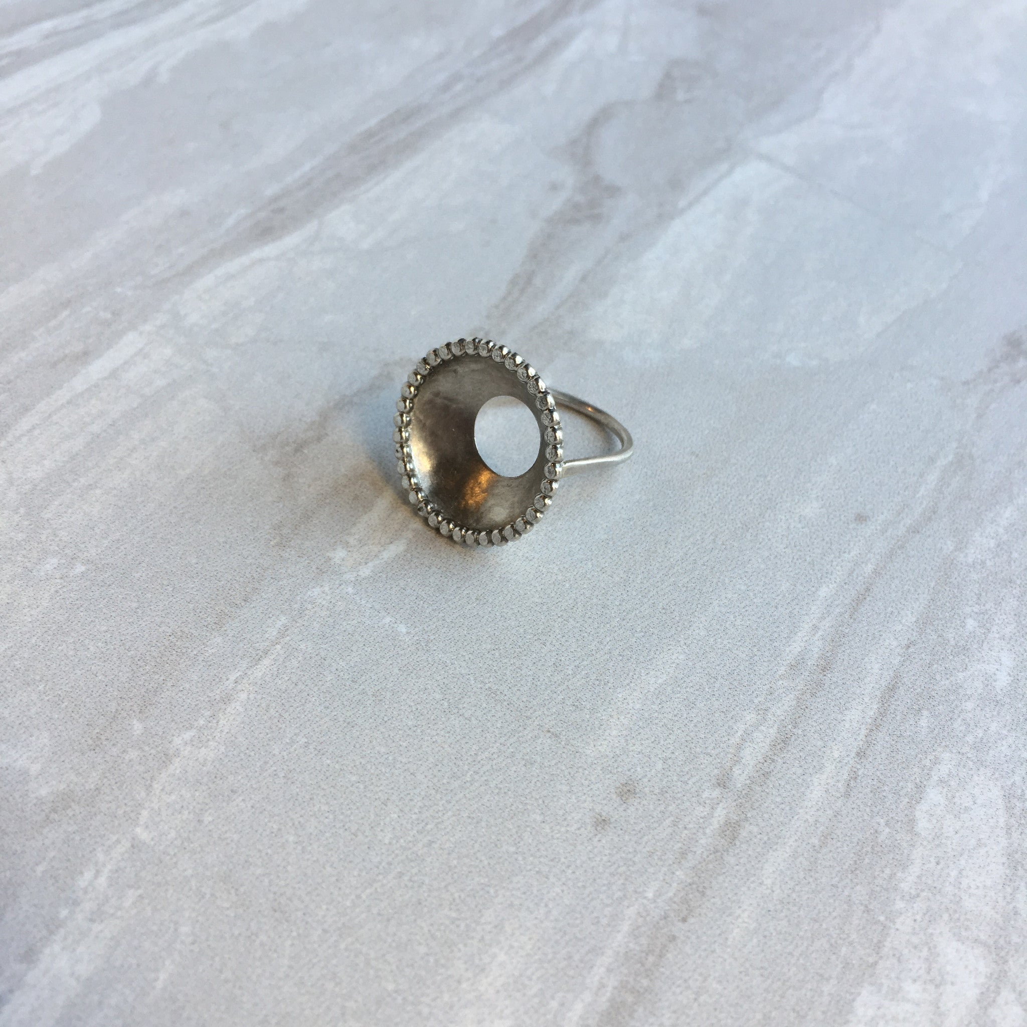 silver open circle dish ring
