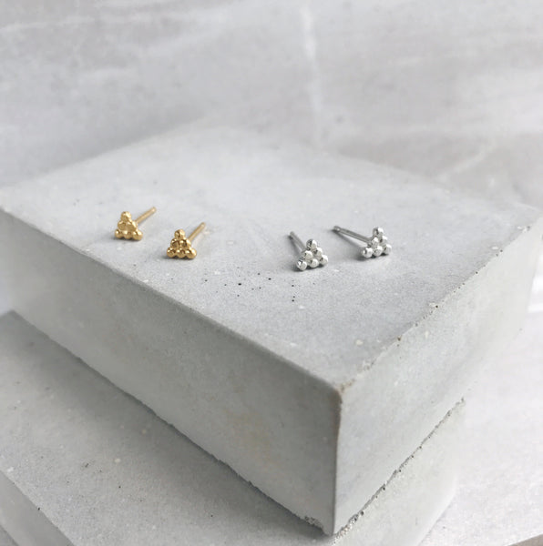 Dot Pyramid earrings Silver or Gold