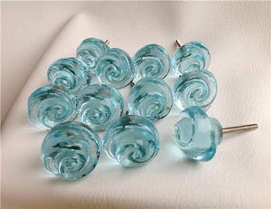 Chic Shabby Aqua Blue Glass Swirl Cabinet Furniture Knobs Set of 12 (s)-Dwyer Home Collection