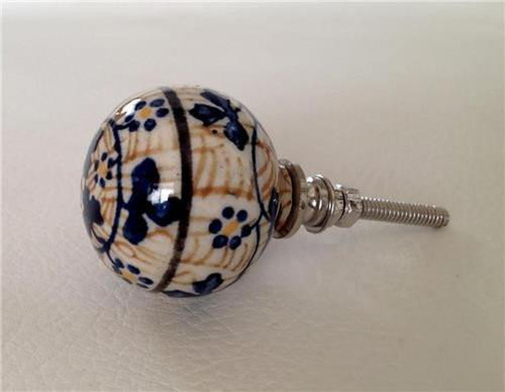 Europa Porcelain Cabinet Knobs Dresser Drawer Pulls Blue and Gold-Dwyer Home Collection