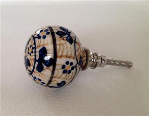 Europa Porcelain Cabinet Knobs Dresser Drawer Pulls Blue and Brown-Dwyer Home Collection