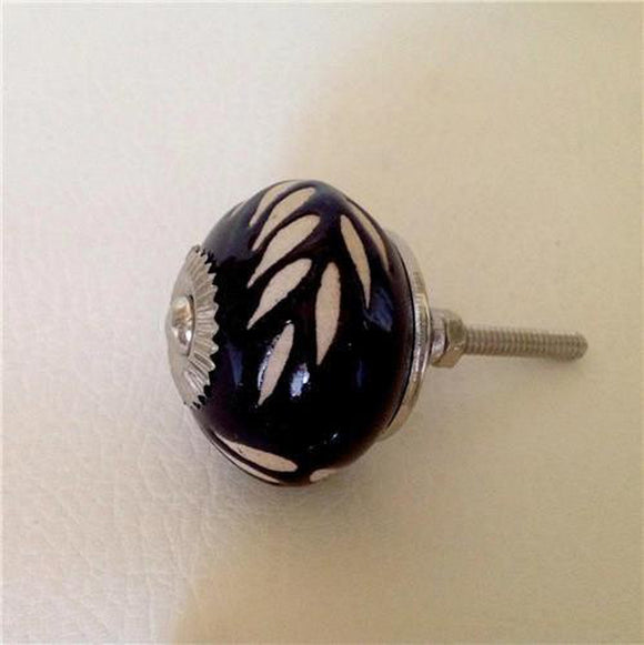Etched Dark Brown Porcelain Cabinet Knobs Dresser Drawer Pulls-Dwyer Home Collection