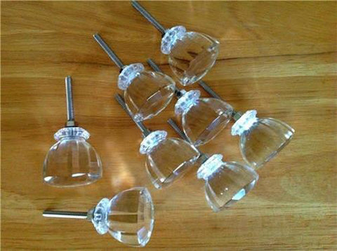 8 Antique Vintage Style Clear Glass Cabinet Knobs Dresser Drawer Pulls (s)-Dwyer Home Collection