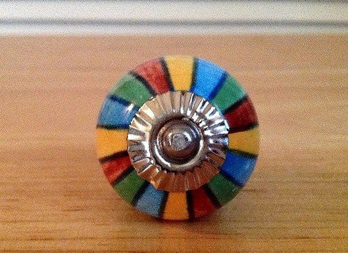 Colorful Mixed Stripes on Porcelain Cabinet Knobs Drawer Pulls-Dwyer Home Collection