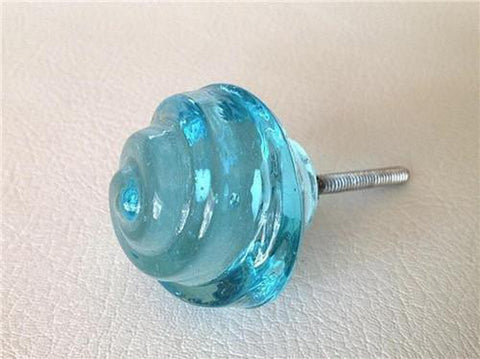 Chic Shabby Aqua Glass Swirl Cabinet Knobs Dresser Drawer Pulls-Dwyer Home Collection