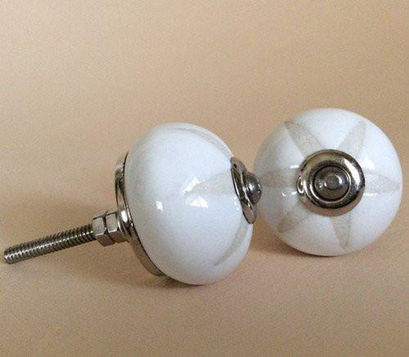 Etched White on White Porcelain Cabinet Knobs Dresser Drawer Pulls-Dwyer Home Collection