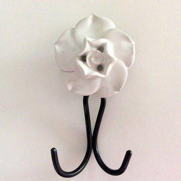 Double Prong Hanging Hook With Ceramic Flower Seven Colors-Dwyer Home Collection