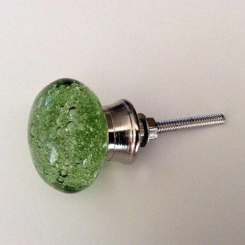 Green Glass Bubble Cabinet Knobs Dresser Drawer Pulls-Dwyer Home Collection