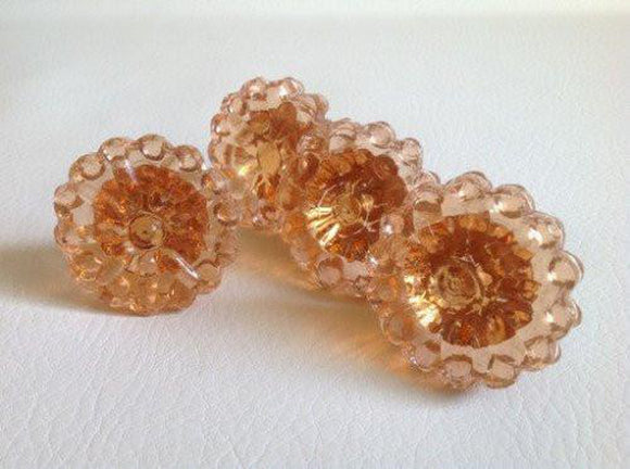 Beaded Edge Peach Glass Cabinet Knobs Pulls Vintage Style Set of 4 (s)-Dwyer Home Collection