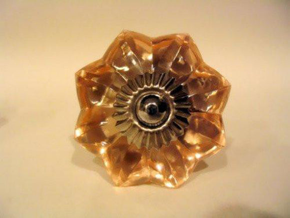 Peach Glass Flower Drawer Pulls Cabinet Knobs Antique Style-Dwyer Home Collection