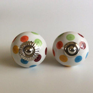 Multi Color Polka Dot Porcelain Cabinet Knobs Drawer Pulls-Dwyer Home Collection