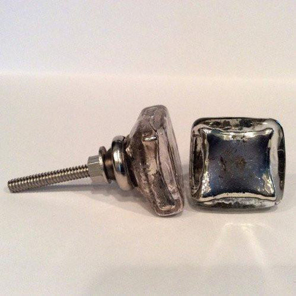 Antique Silver Mercury Glass Flat Square Cabinet Knobs Dresser Drawer Pulls-Dwyer Home Collection