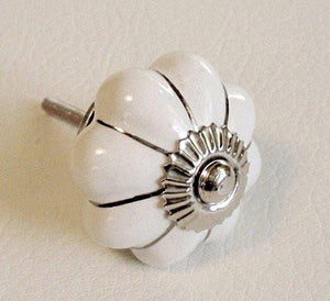 "White Porcelain Cabinet Knobs Drawer Pulls Silver Accents 1.5""-Dwyer Home Collection"