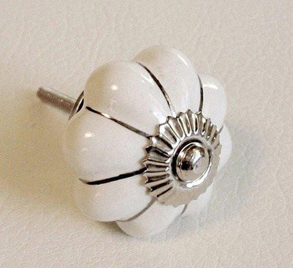 White Porcelain Cabinet Knobs Drawer Pulls Silver Accents 1.5
