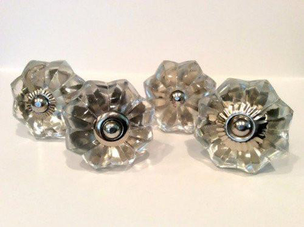 Clear Glass Flower Cabinet Knobs Drawer Pulls Mixed Silver Fittings Set of 4-Dwyer Home Collection