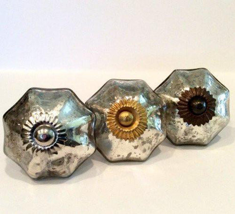 Antique Style Vintage Silver Mercury Glass Cabinet Knobs Dresser Drawer Pulls-Dwyer Home Collection