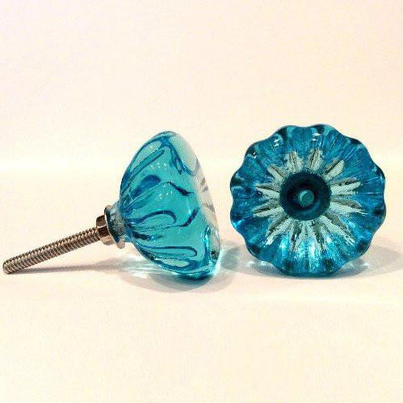 Vintage Style Deep Aqua Glass Cabinet Knobs Drawer Pulls 1.5
