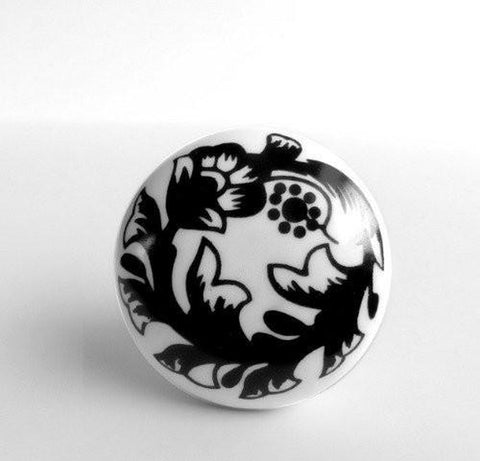 Black and White Flowers on Porcelain Cabinet Knobs Dresser Drawer Pulls-Dwyer Home Collection