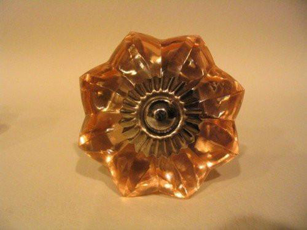 Amber Glass Flower Drawer Pulls Cabinet Knobs Antique Style