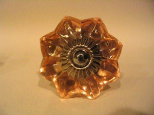 Amber Glass Flower Drawer Pulls Cabinet Knobs Antique Style-Dwyer Home Collection