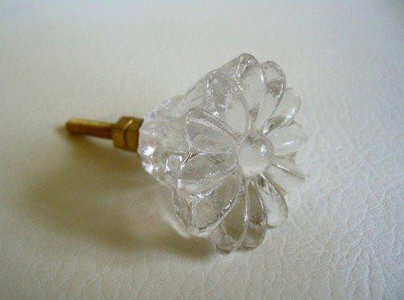 Clear Glass Crystal Daisy Dresser Drawer Pulls Cabinet Knobs Retro (s)-Dwyer Home Collection